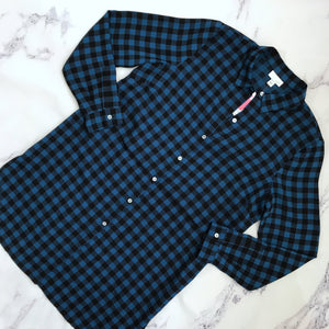J.Jill blue and black check button up tunic - My Girlfriend's Wardrobe York Pa