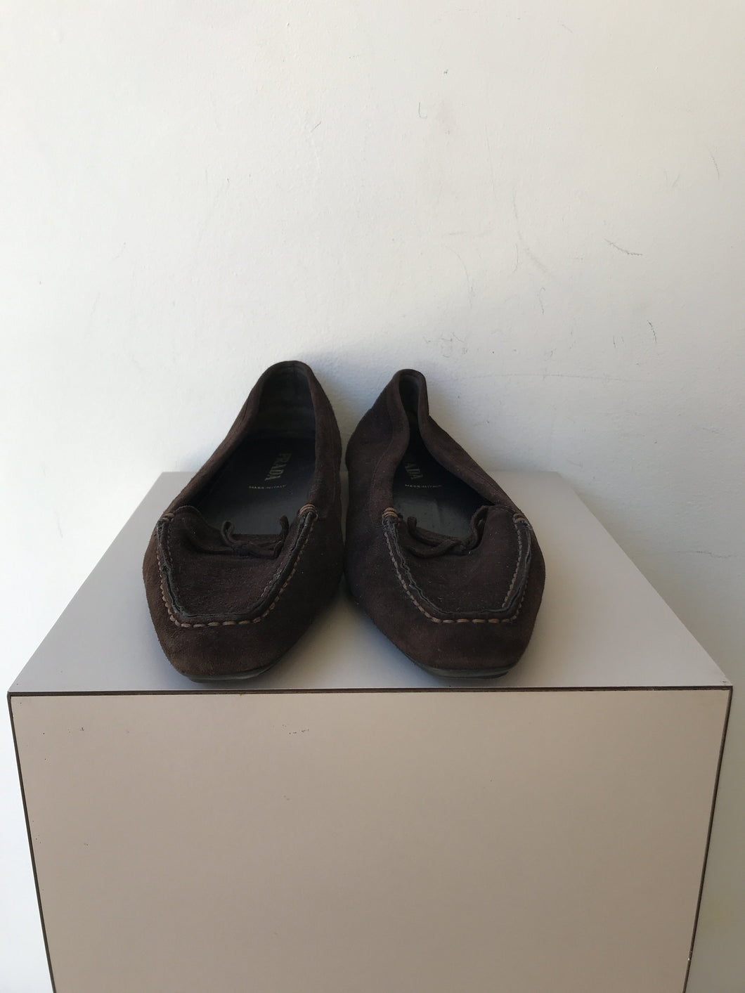 Prada brown suede loafers size 38.5