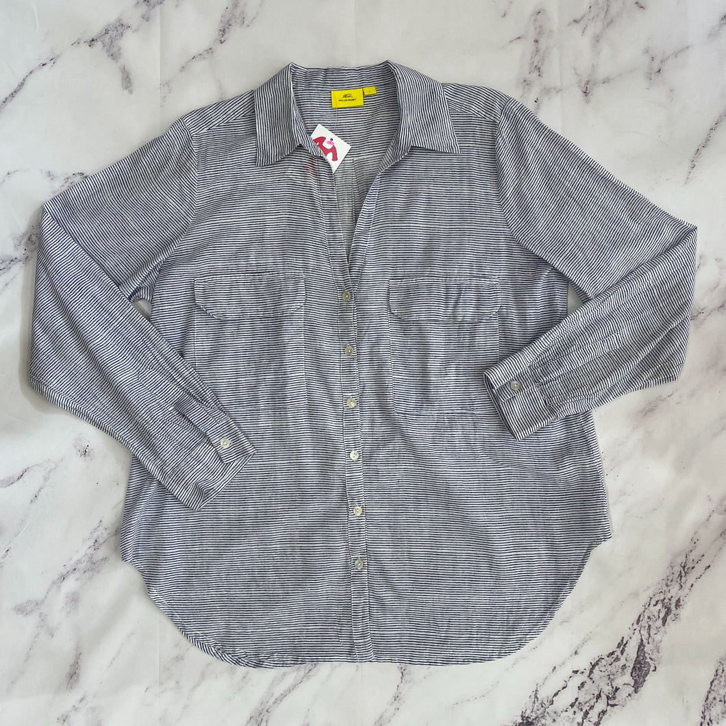 Roberta Roller Rabbit navy and white striped button up size L - My Girlfriend's Wardrobe York Pa