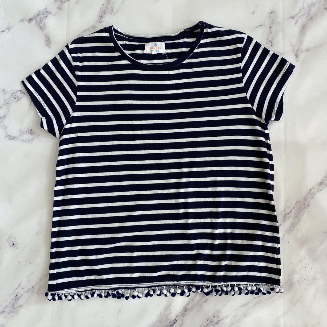 Sundry Maritime navy and white striped top size L - My Girlfriend's Wardrobe York Pa