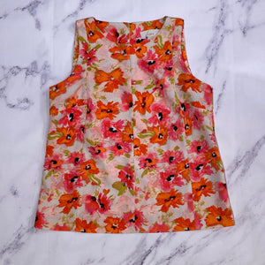 Loft pink and orange floral print tank top size MP
