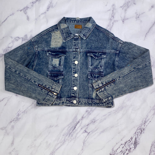 POL distressed denim jacket NWT