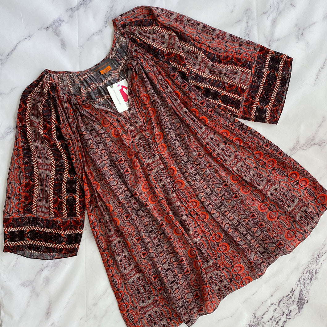 Bhanuni by Jyoti gray, red, black print tunic top size XL NWT - My Girlfriend's Wardrobe LLC