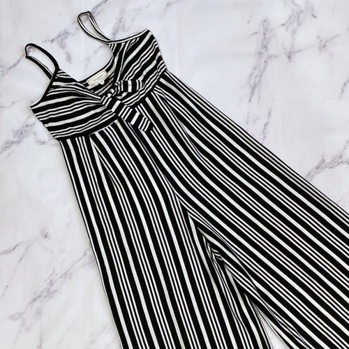 No Comment black and white striped jumpsuit size L NWT