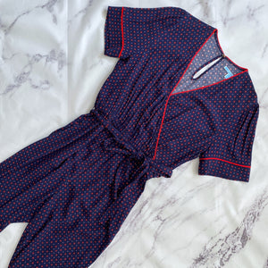 Draper James navy and red self tie romper size M NWT - My Girlfriend's Wardrobe LLC