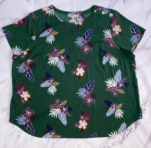 Loft green floral top size 26 - My Girlfriend's Wardrobe LLC