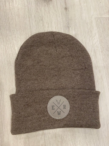 "Heather Brown Beanie w/ ""ERW"" Patch"