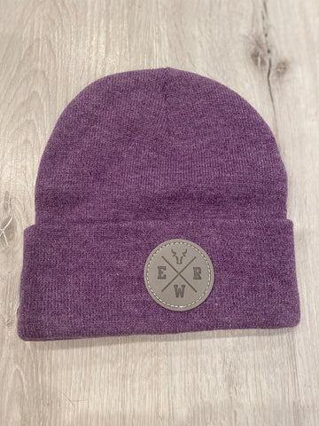 "Heather Purple Beanie w/ ""ERW"" Patch"