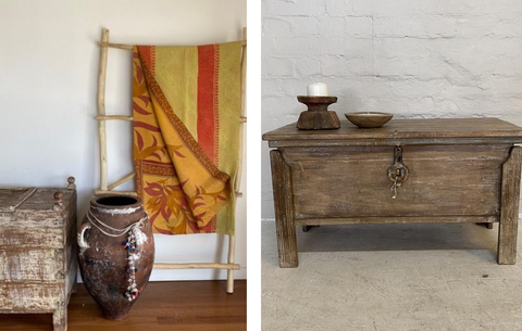 Vintage Indian pot and draped textile and vintage Indian storage box