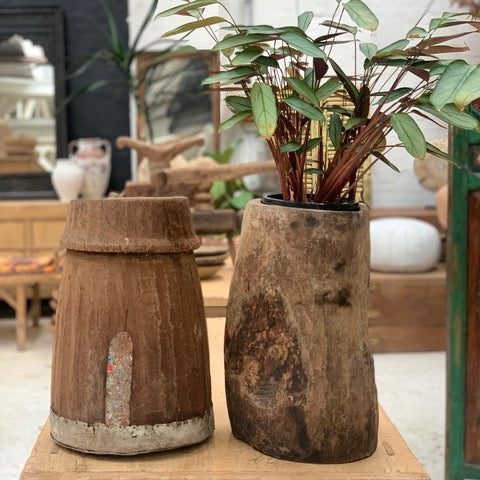 Vintage wooden pots from India