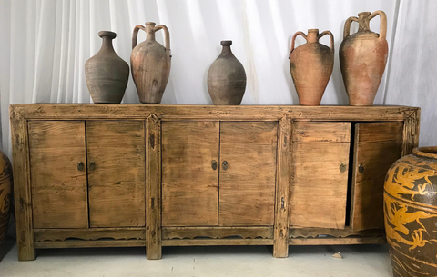 Chinese antique furniture cabinet with clay pots