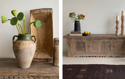 Two images of flowers styled in vintage ceramic flower pots
