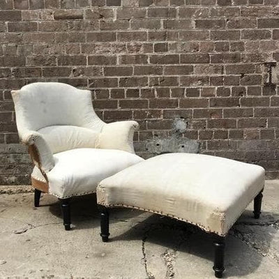 Antique French chair and ottoman from Marseille - Water Tiger