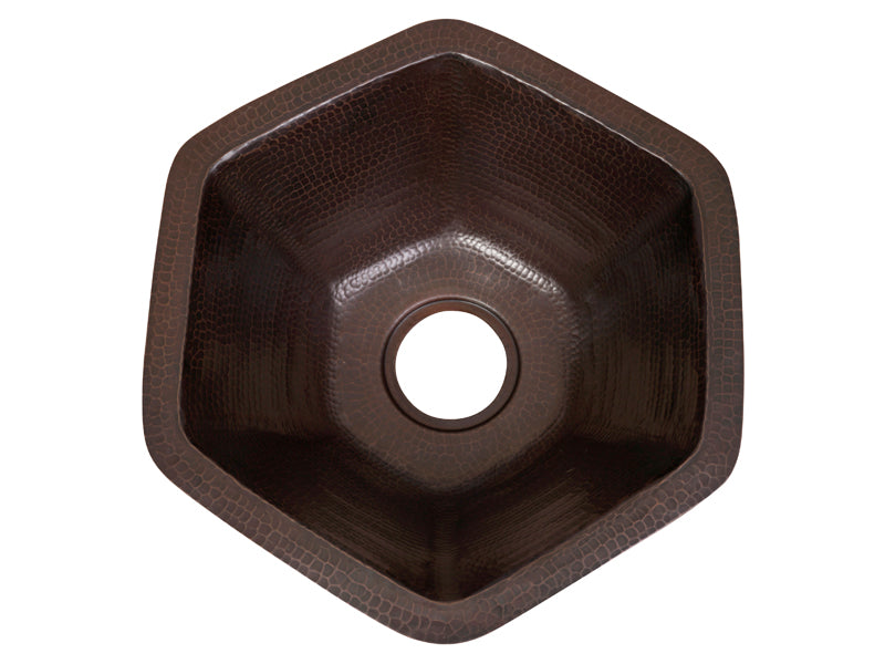 007 Copper Hexagonal Bar Sink 16 X 16 X 7