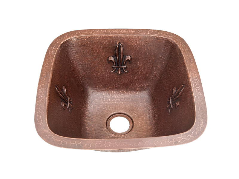 006 Copper Square Bar Sink Fleur Da Lis Design 15 X 15 X 7