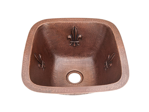 004 Copper Round Bar Sink Grapes Design 16 X 16 X 7