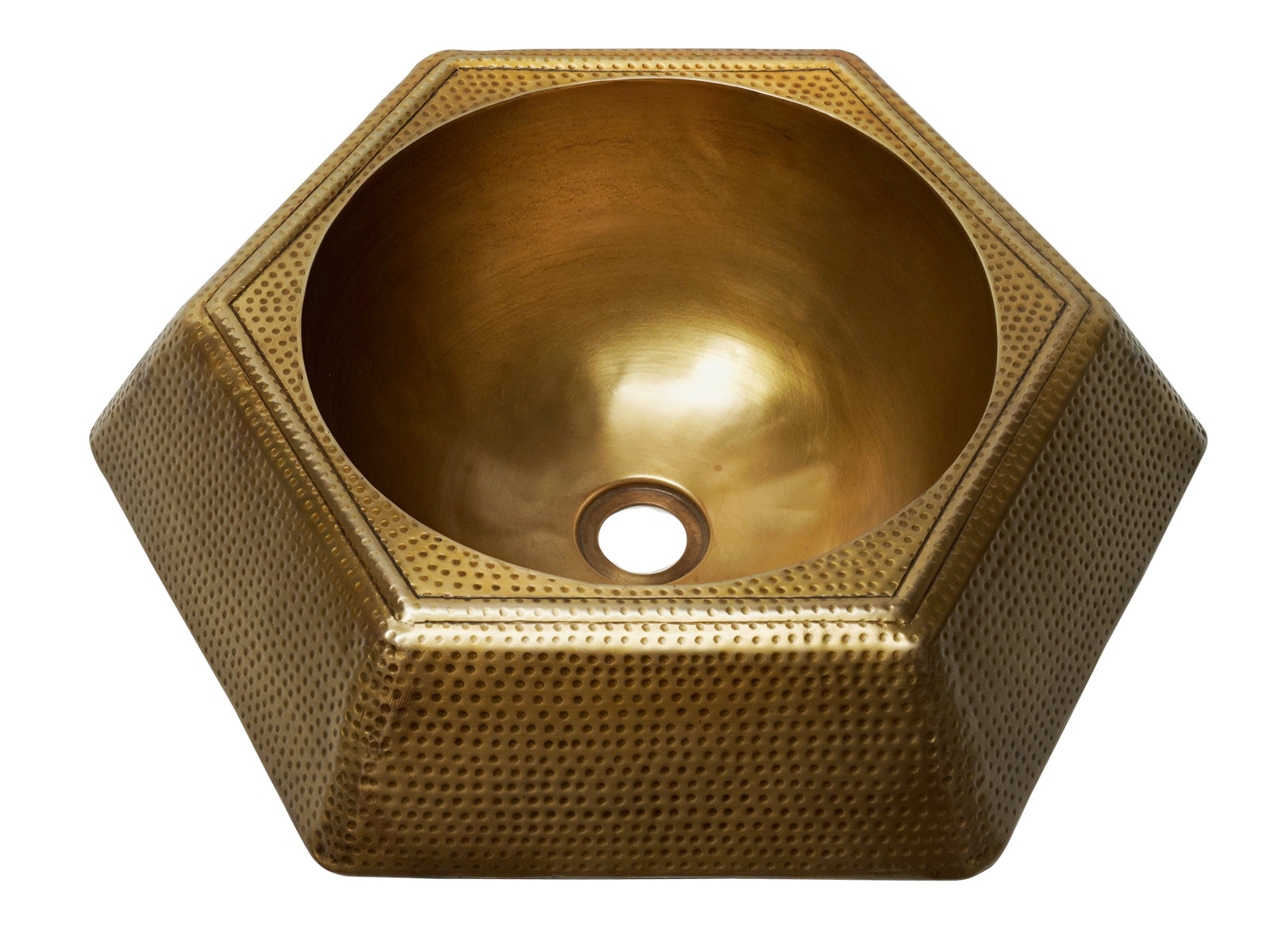 Copper Hammered Hexagonal Prism Vessel