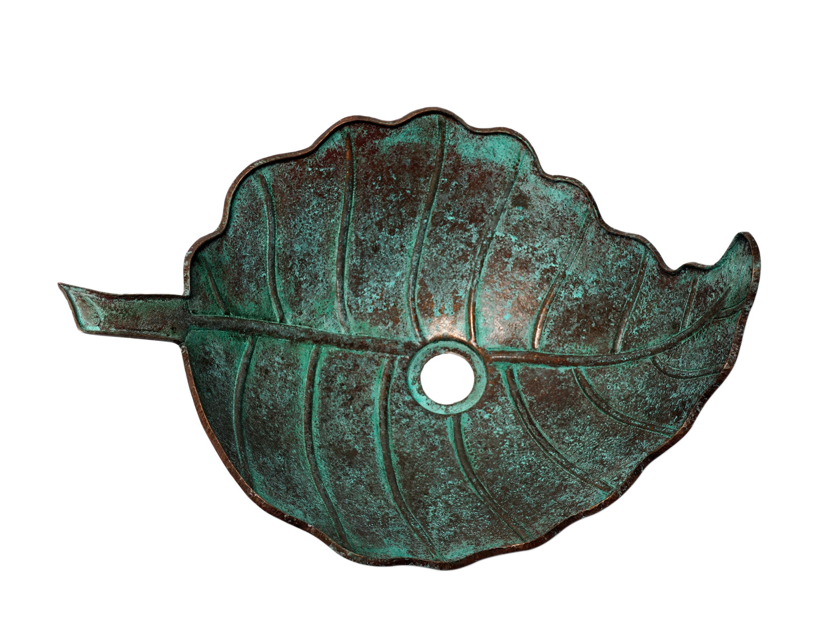 Copper Hammered Oak Leaf Vessel