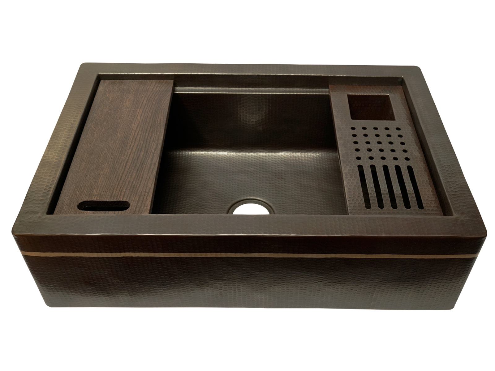 Copper SilverLine Grinding Farmhouse Kitchen Sink with Marble Board and Strainer