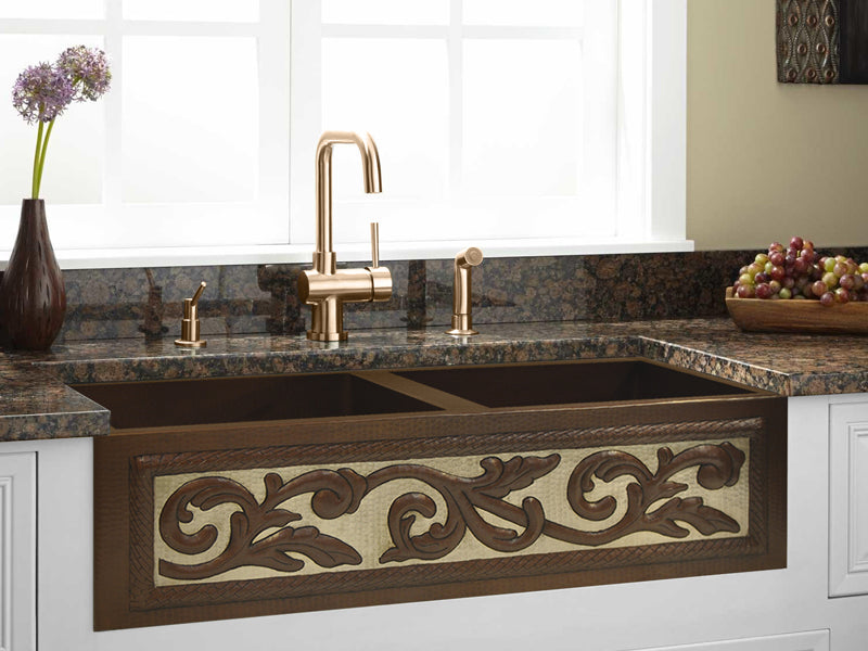 042 Copper Farmhouse Kitchen Sink 50/50 Silver Desing  33 X 22 X 9