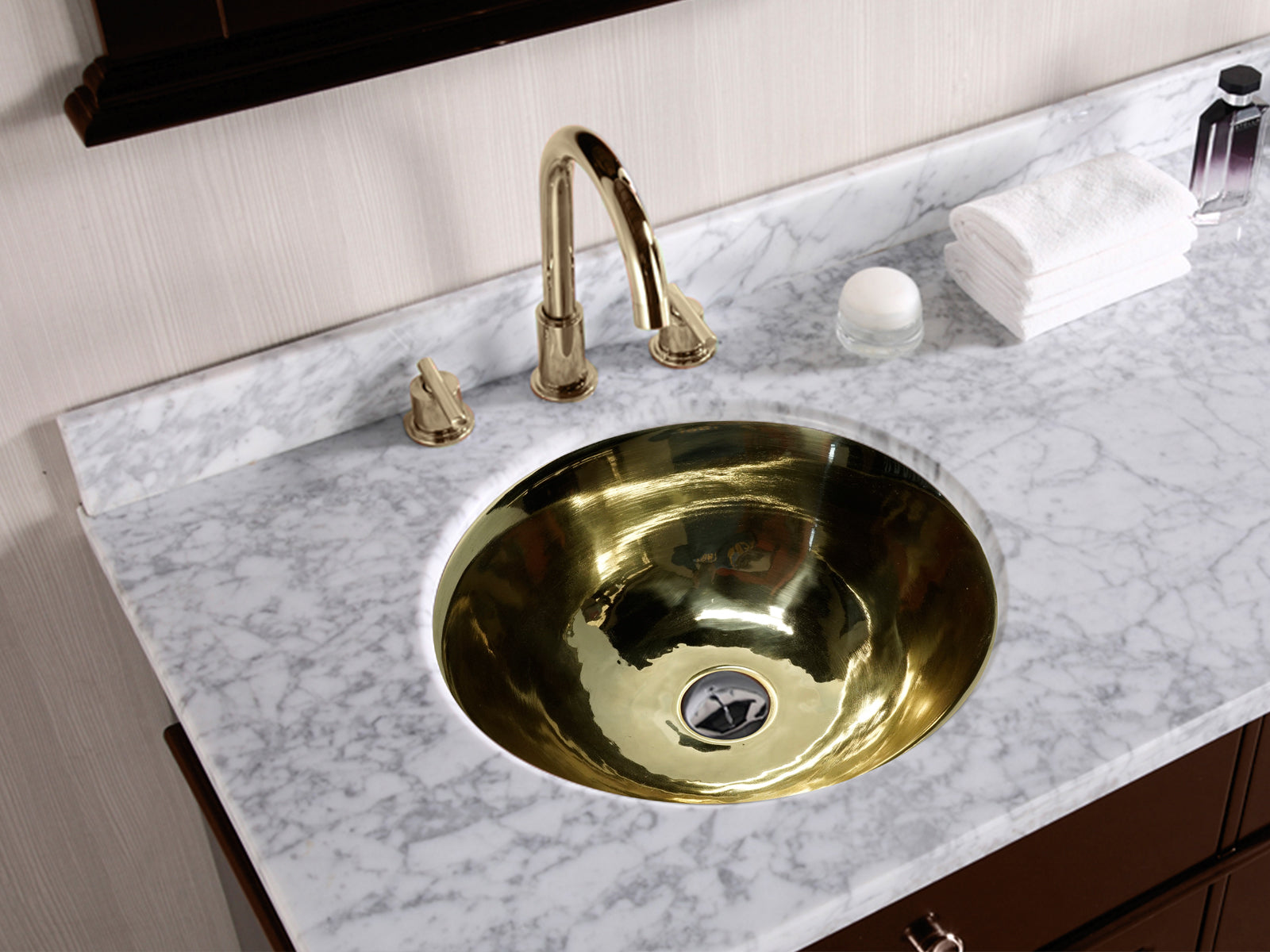 Brass Round Bath Sink Smooth High Bright