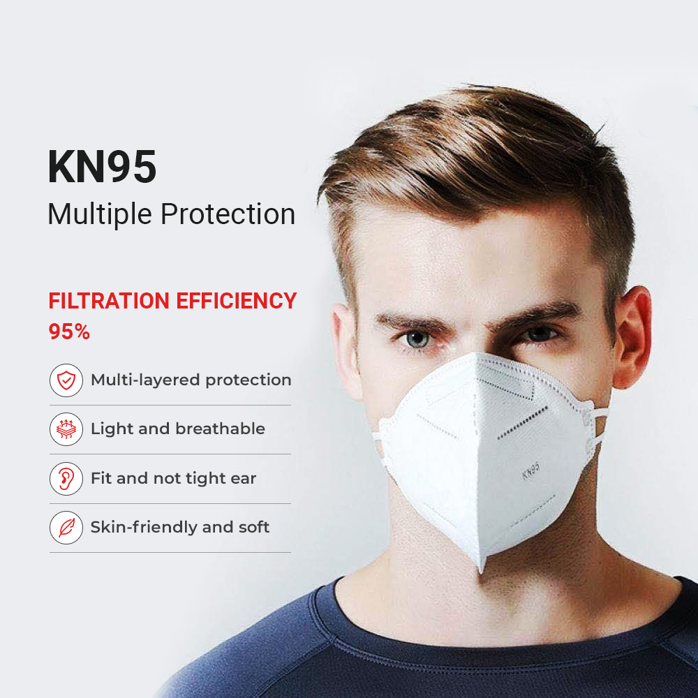 KN95 Protective Face Mask - White - Regular Size - 20PK