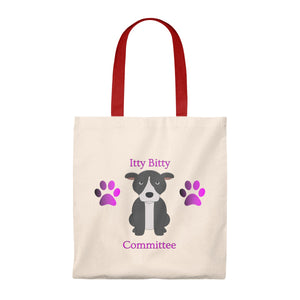 """Itty Bitty Pittie Committee"" Pitbull / American Bully Dog Vintage Style Tote Bag is available at Lotso Bully Breeds one stop pitbull shop.  Click here to view unique T shirts, apparel, accessories, bags, gifts, and more!"