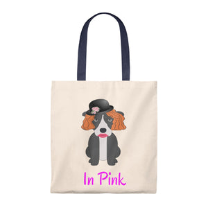 """Pittie in Pink"" Pitbull / American Bully Dog Vintage Style Canvas Tote is available at Lotso Bully Breeds one stop pitbull shop.  Click here to view unique T shirts, apparel, accessories, bags, gifts, and more!"