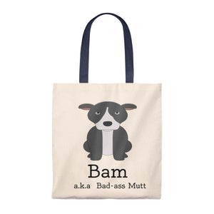 """BAM - Badass Mutt"" Pitbull / American Bully vintage style canvas tote"