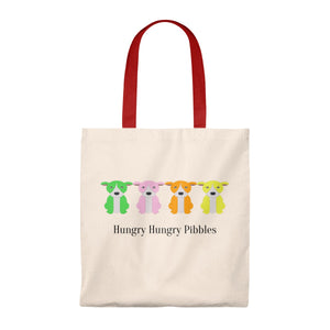 """Hungry Hungry Pibbles"" Pitbull/American Bully Dog Vintage Style Cotton Tote Bag is available at Lotso Bully Breeds one stop pitbull shop.  Click here to view unique T shirts, apparel, accessories, bags, gifts, and more!"