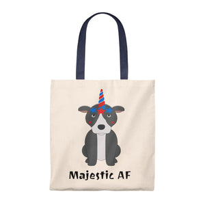 """Majestic AF"" Pitbull / American Bully Dog Vintage Style Canvas Tote is available at Lotso Bully Breeds one stop pitbull shop.  Click here to view unique T shirts, apparel, accessories, bags, gifts, and more!"