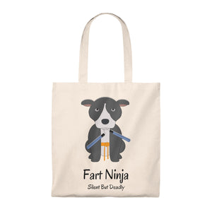"""Fart Ninja"" Pitbull / American Bully Vintage Style Tote Bag is available at Lotso Bully Breeds one stop pitbull shop.  Click here to view unique T shirts, apparel, accessories, bags, gifts, and more!"