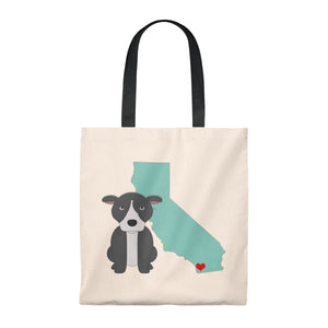 """San Diego Pittie"" Pitbull/American Bully Dog Vintage Style Cotton Tote Bag"