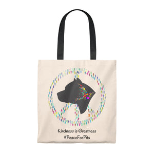 """Peace for Pits"" Colorful Pitbull Vintage Style Tote Bag is available at Lotso Bully Breeds one stop pitbull shop.  Click here to view unique T shirts, apparel, accessories, bags, gifts, and more!"