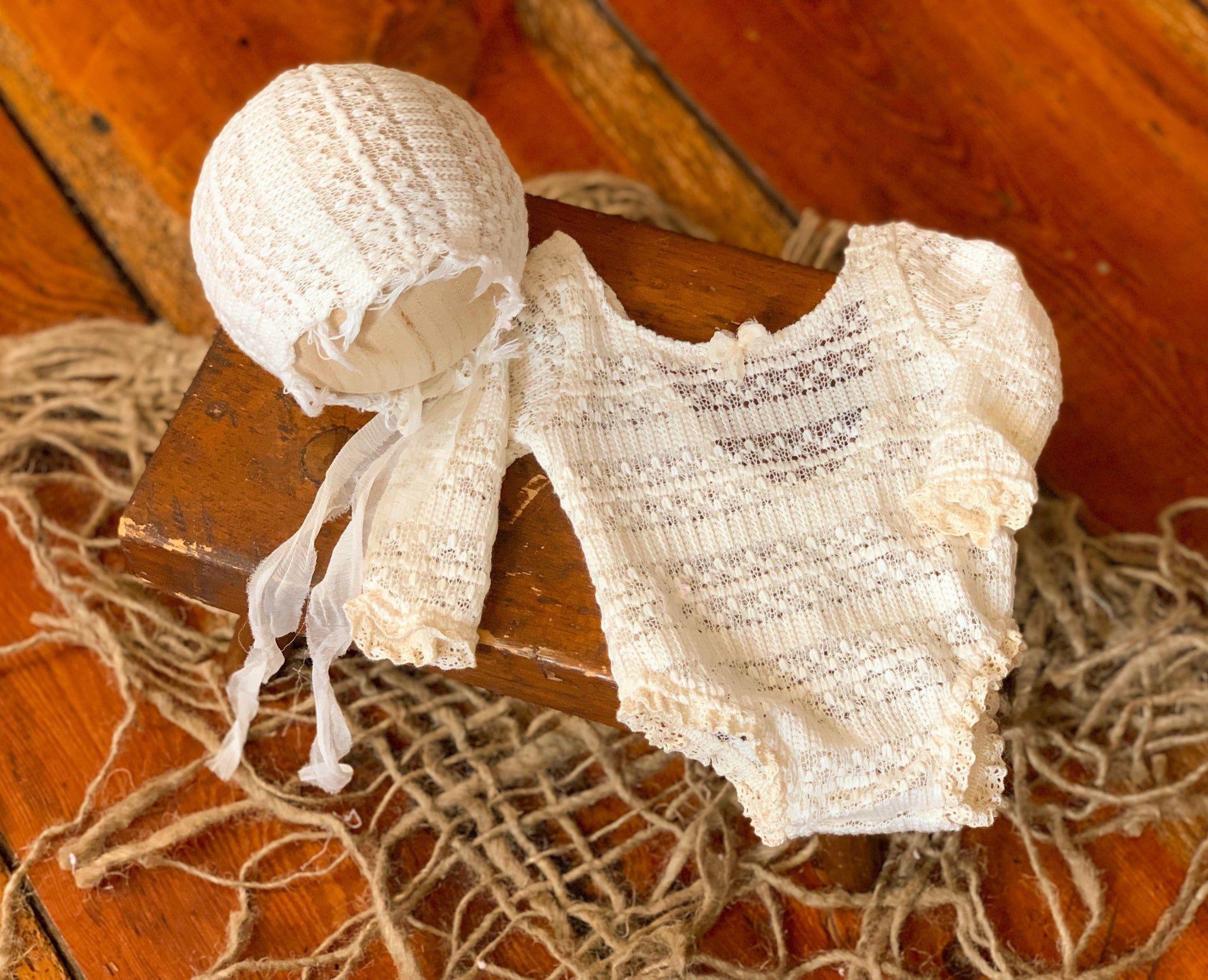 Cream Lace Stripe Newborn Romper Set