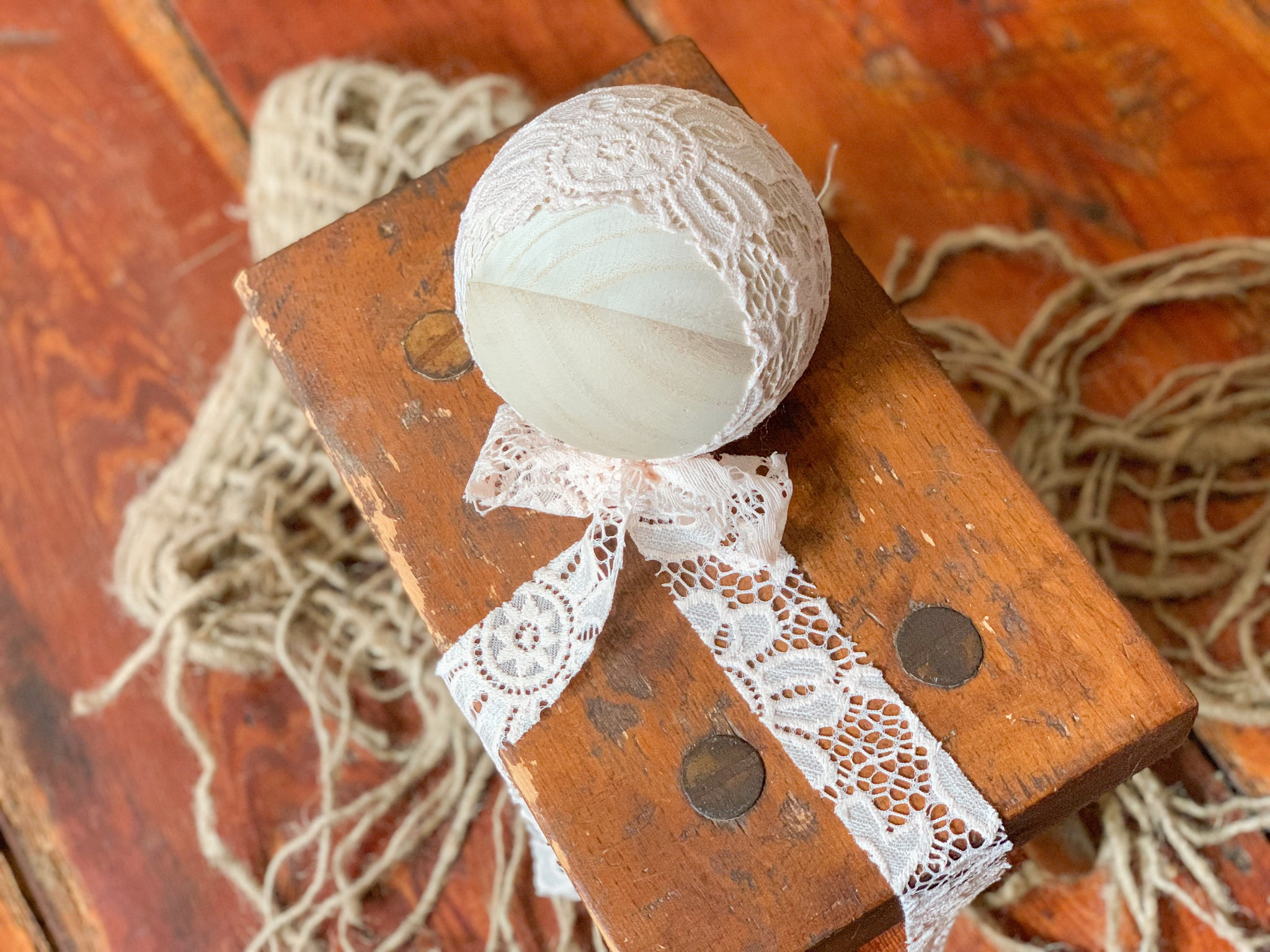 Peachy Lace Newborn Bonnet
