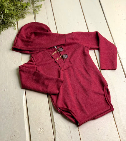 Red Sitter Hooded Romper