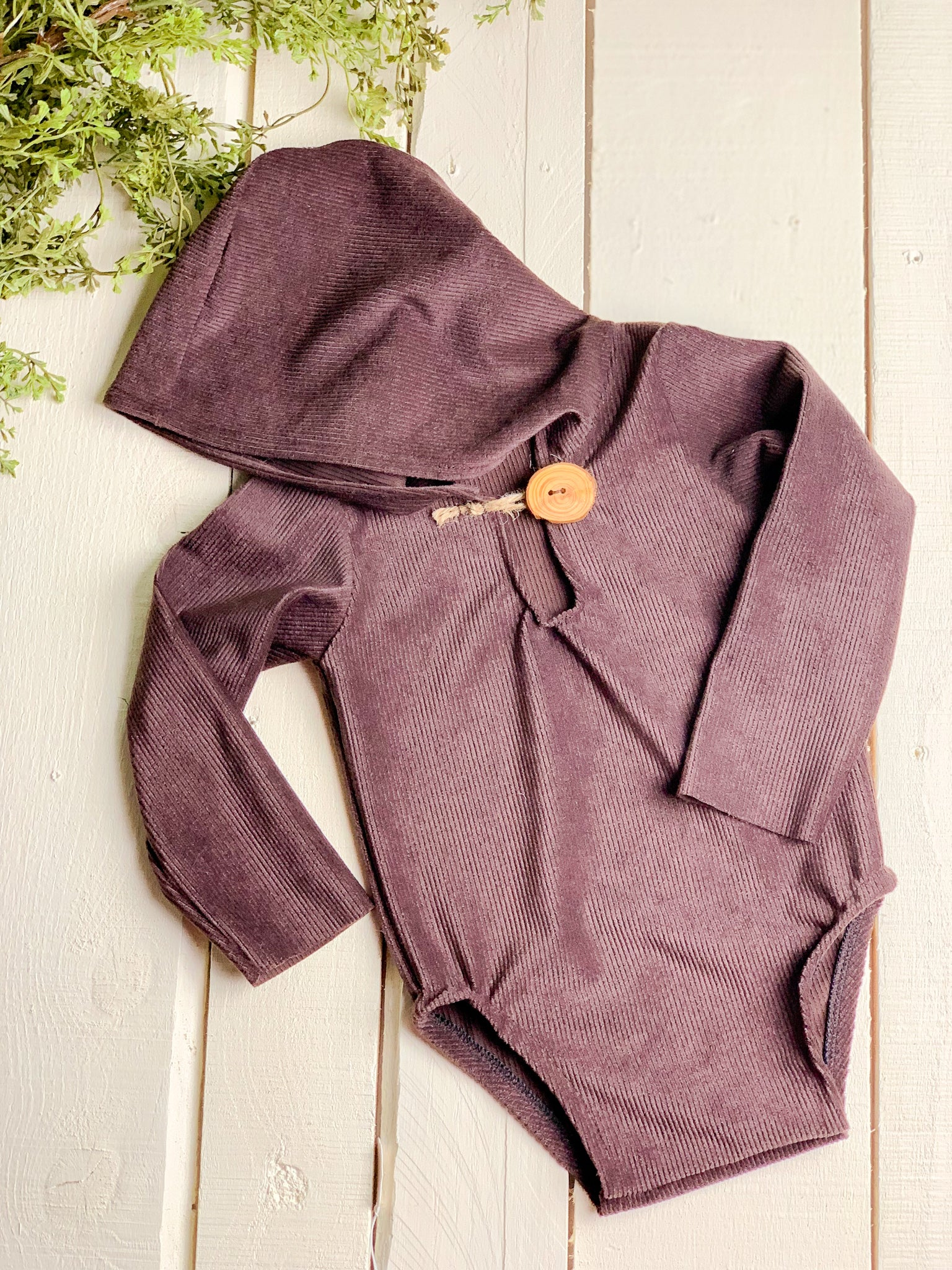 Chocolate Corduroy Sitter Hooded Romper ~ Sale