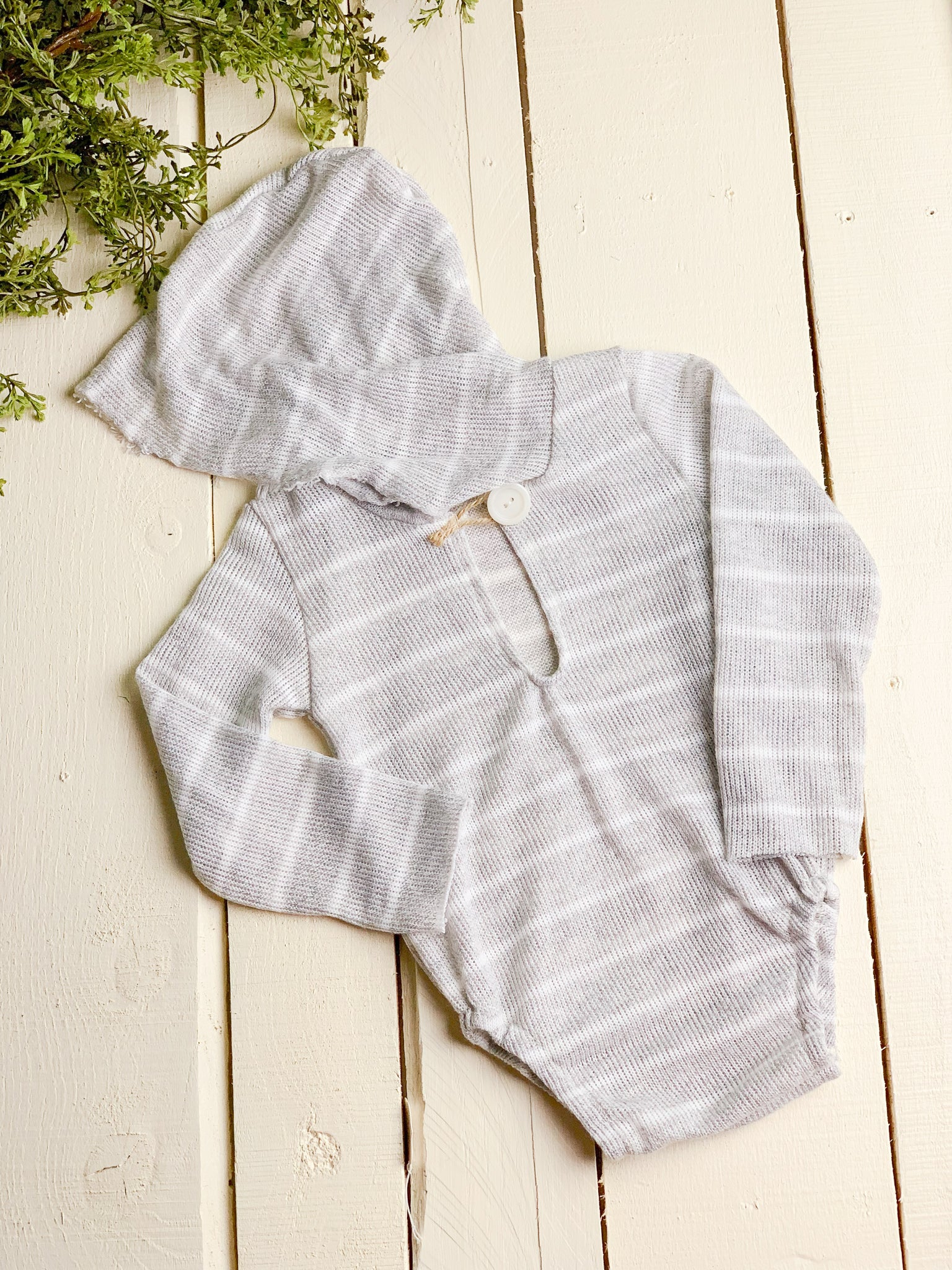 Gray Knit Stripe Sitter Hooded Romper  ~ Sale