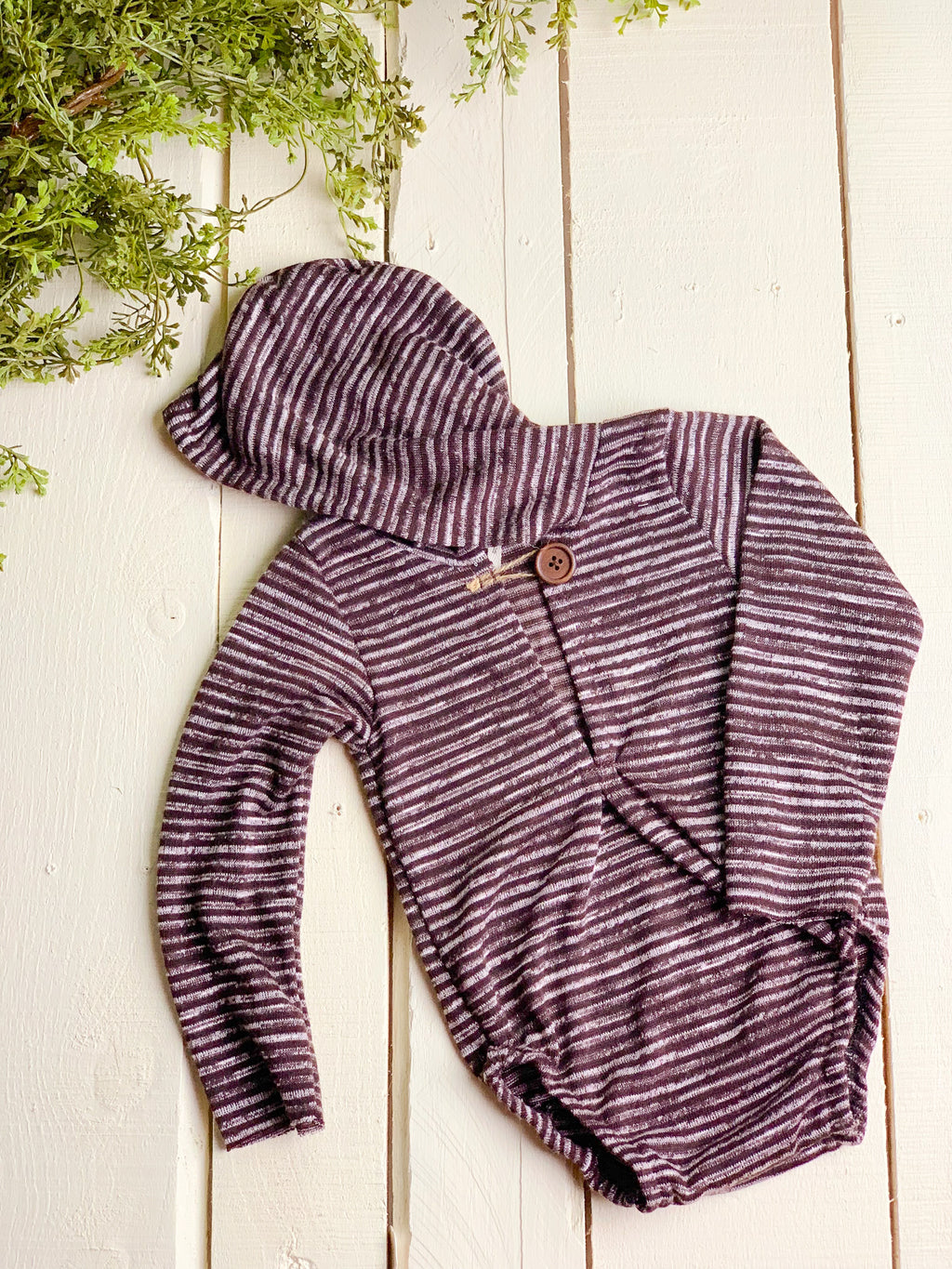 Brown Stripe Sitter Hooded Romper ~ Sale