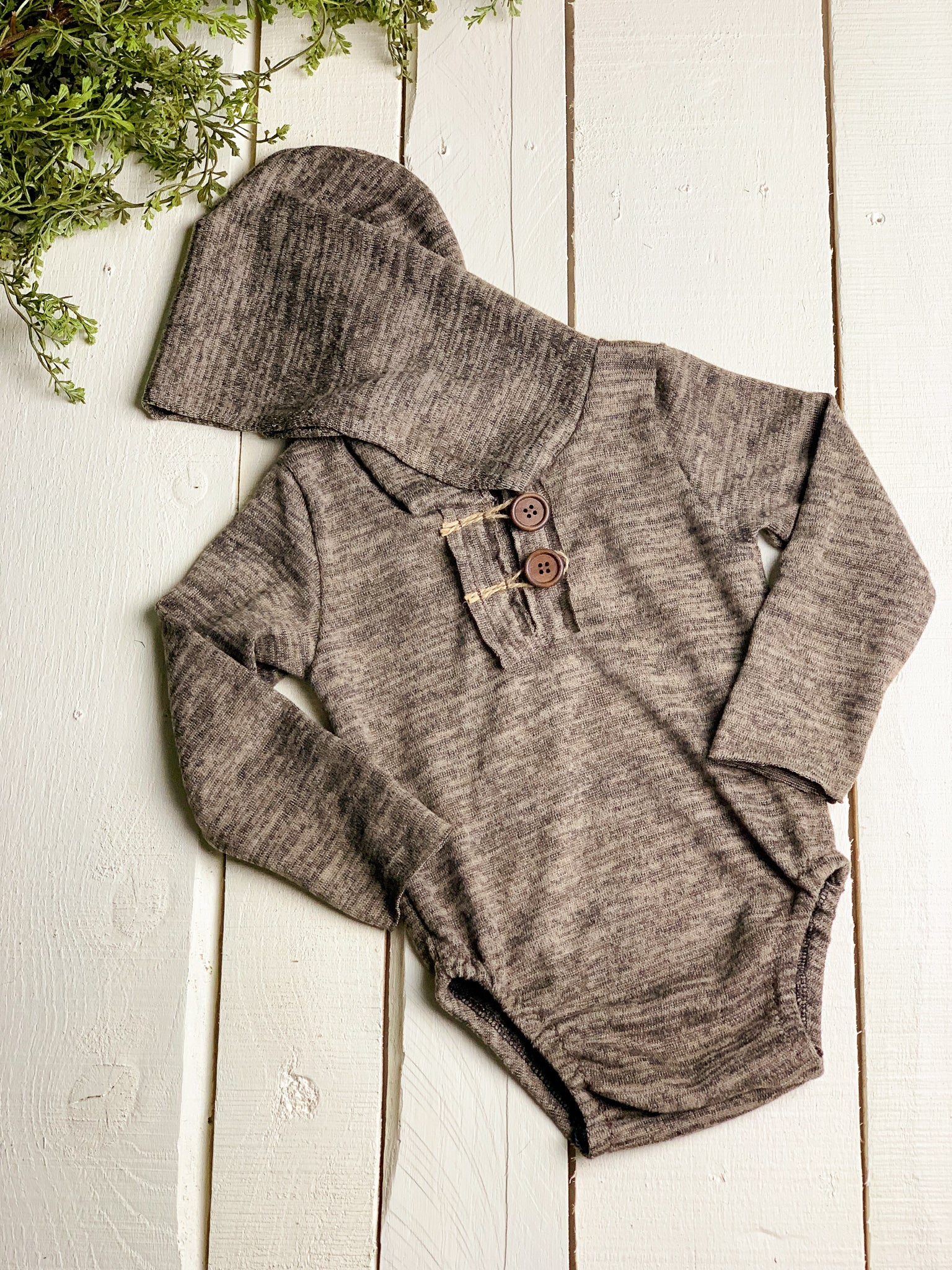Heathered Brown Sitter Hooded Romper