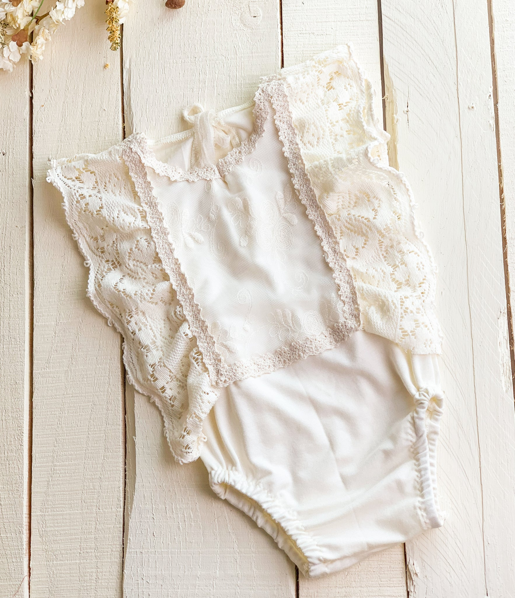 Ivory Vintage Lace Ruffled Sitter Romper
