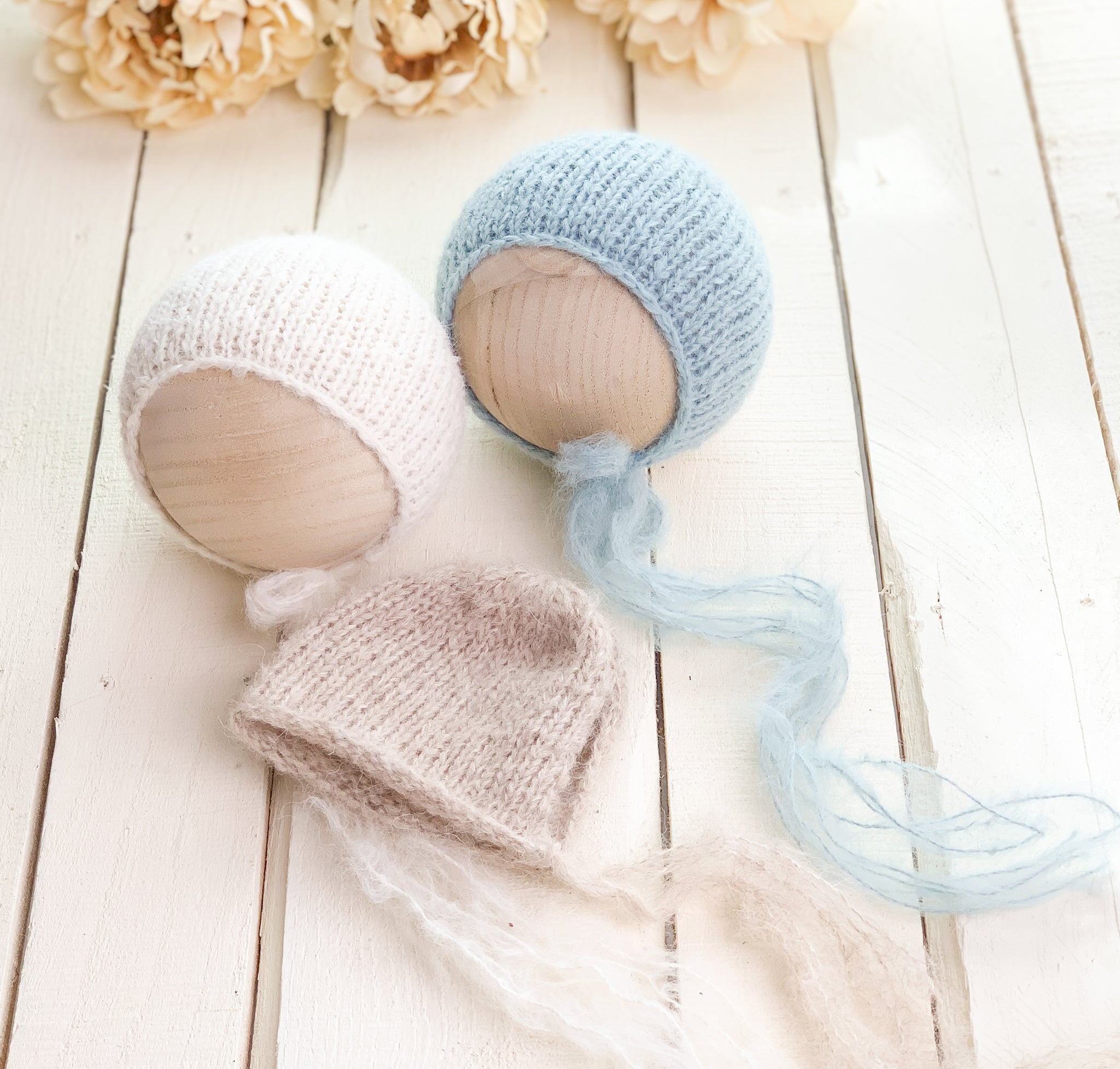 Brushed Newborn Knit Bonnets