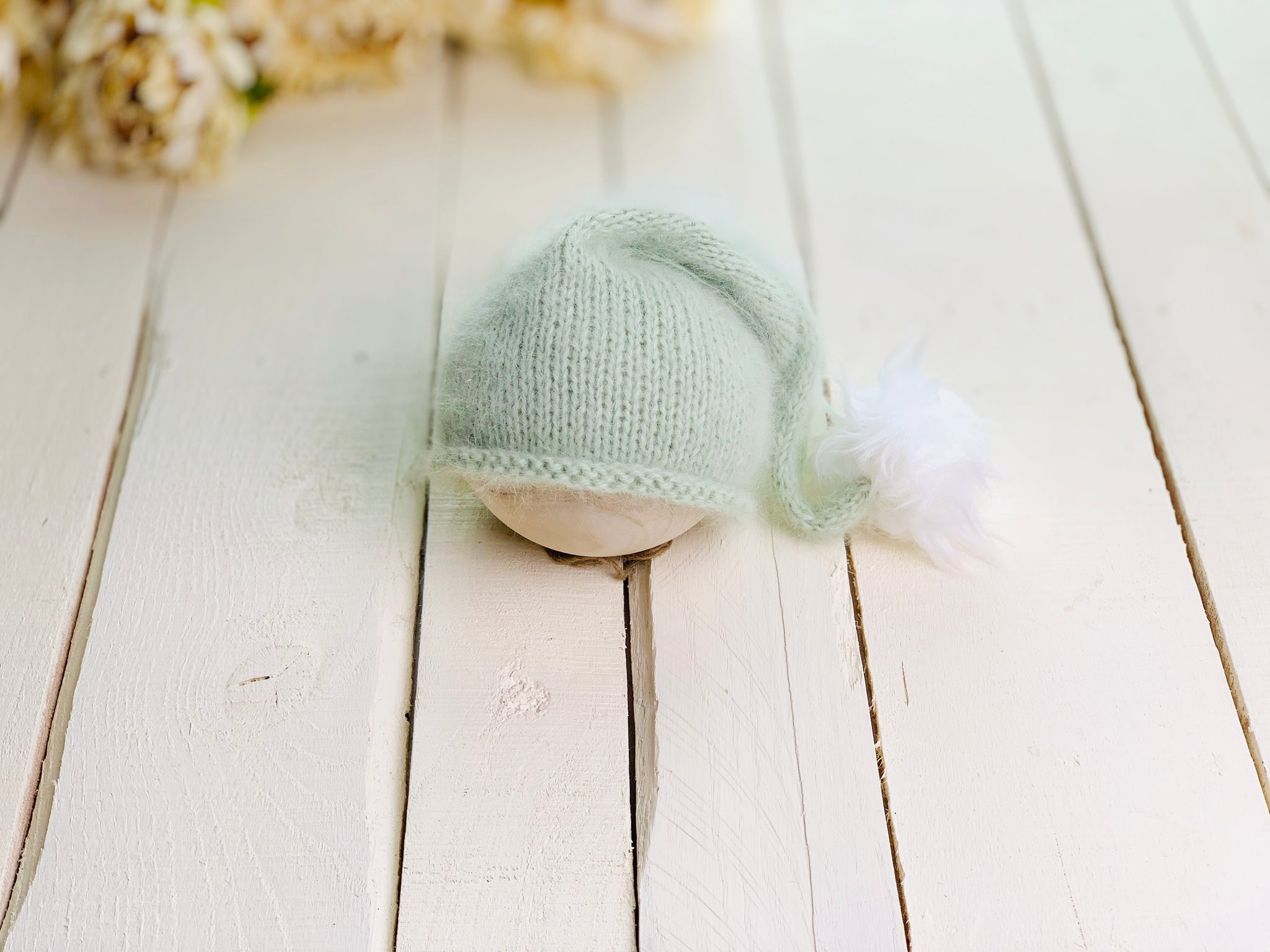 Newborn Angora Knit Sleepy Cap