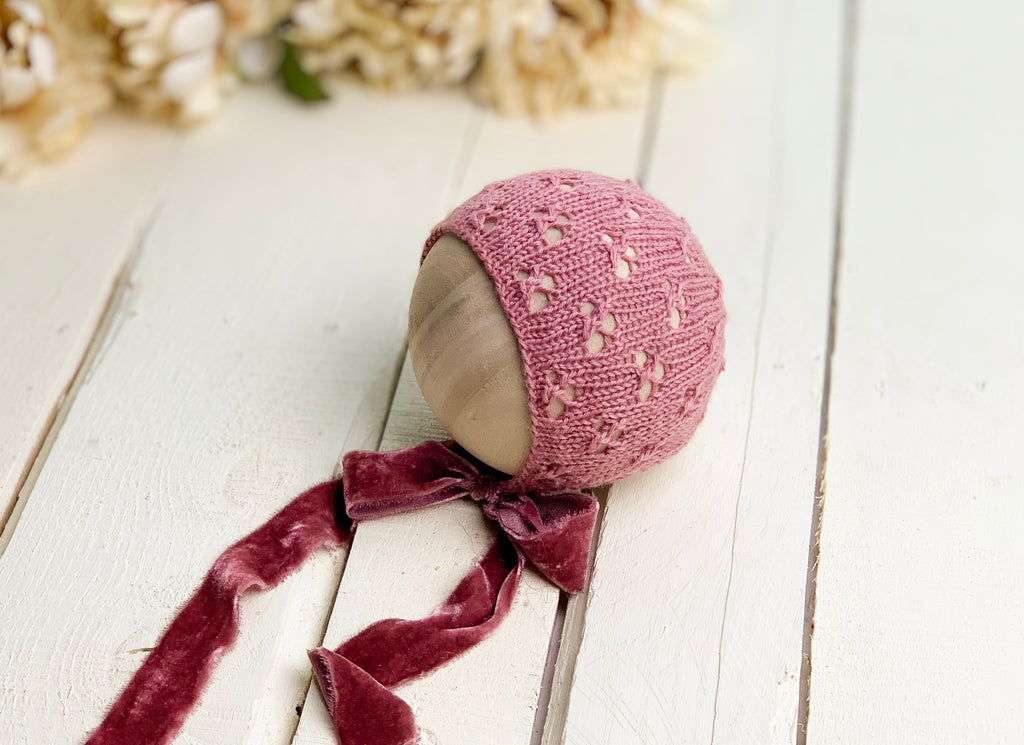 Newborn Eyelet Knit Bonnet