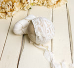 White Vintage Lace Newborn Bonnet