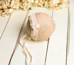 Peachy Lace & Velvet Newborn Bonnet