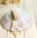 Vintage Lace & Silk Bow Newborn Bonnet
