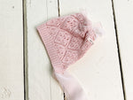 Pink Pointelle Knit Newborn Bonnet ~ Sale