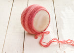 Pastel Red Newborn Knit Bonnet